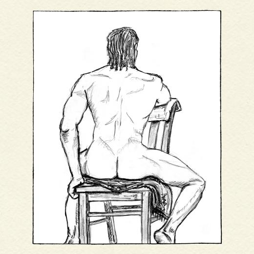 Male back nude full body sitting on chair