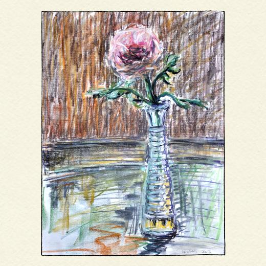 Color pastel of small glass vase with a flower