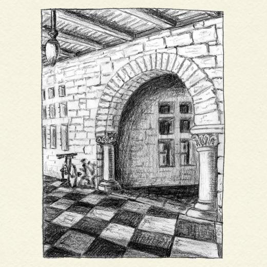 Drawing of arch and bicycle on checkered floor