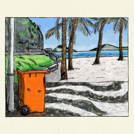 Color drawing of beach
