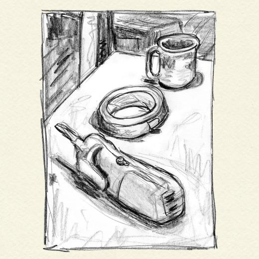 Drawing of phone and tape roll and coffee cup in perspective