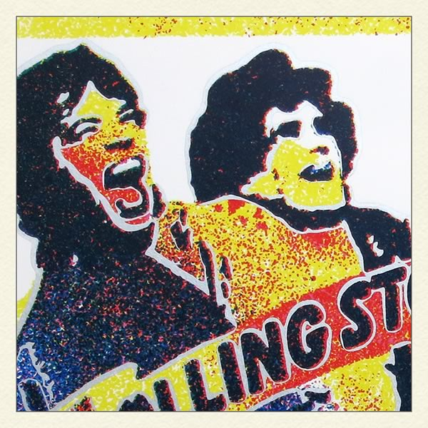 Detail of a screenprint of 1982 Rolling Stones concert ticket in Torino