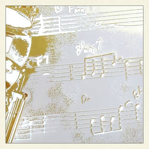 Detail of a screenprint of saxophone on music sheet