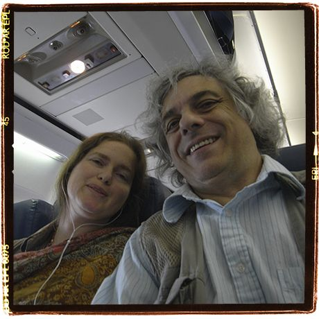 On a plane again with my spouse, Lise Sedrez. Going places, maybe for work, maybe not