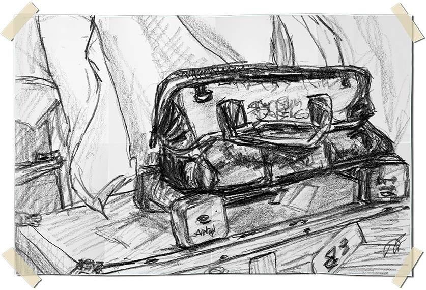 Graphite drawing - tool bag