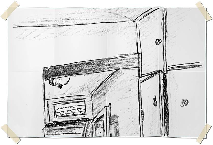 Graphite drawing - low view of room corner