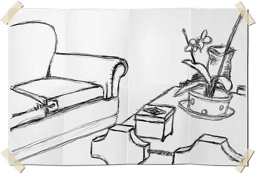Graphite drawing - table with plant and sofa