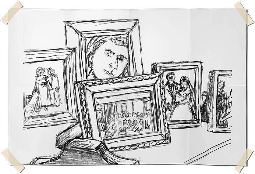 Graphite drawing - picture frames