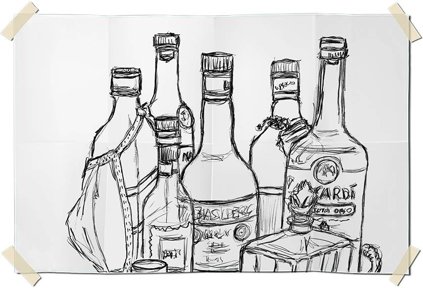 Graphite drawing - cirurgical mask on liquor bottles