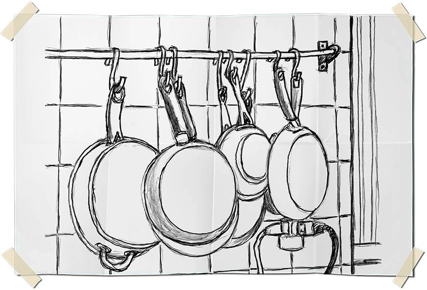 Graphite drawing - Hanging pans