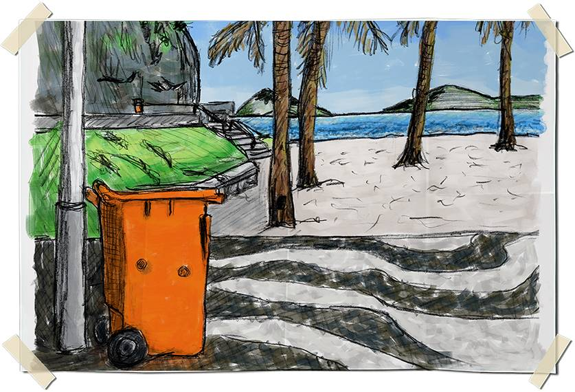 Digitally colored graphite drawing - Beach view in Leme - Rio de Janeiro, Brazil
