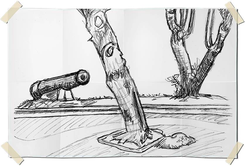 Graphite drawing - Cannon of the past on the Leme seafront