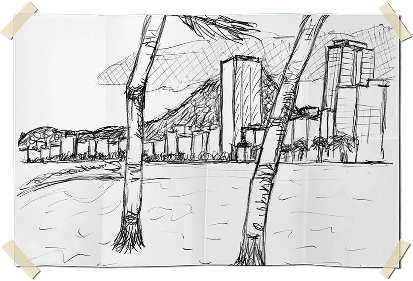 Graphite drawing - Copacabana beach perspective