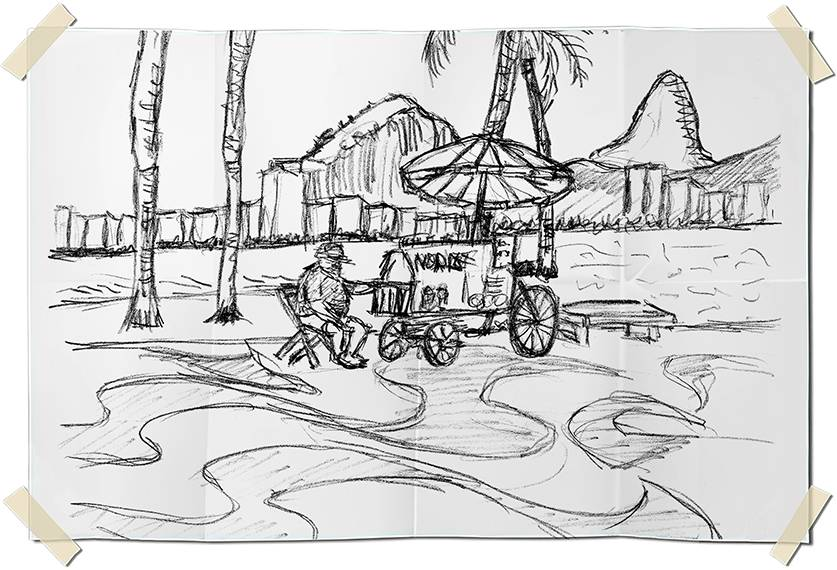 Graphite drawing - Copacabana beach perspective with beach food vendor