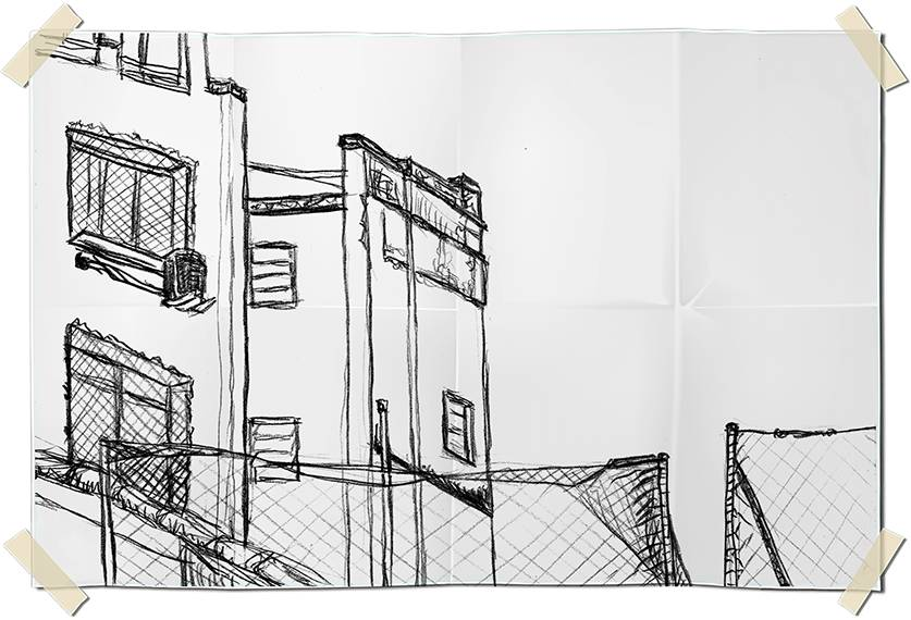 Graphite drawing - terrace view of near buildings in Ipanema