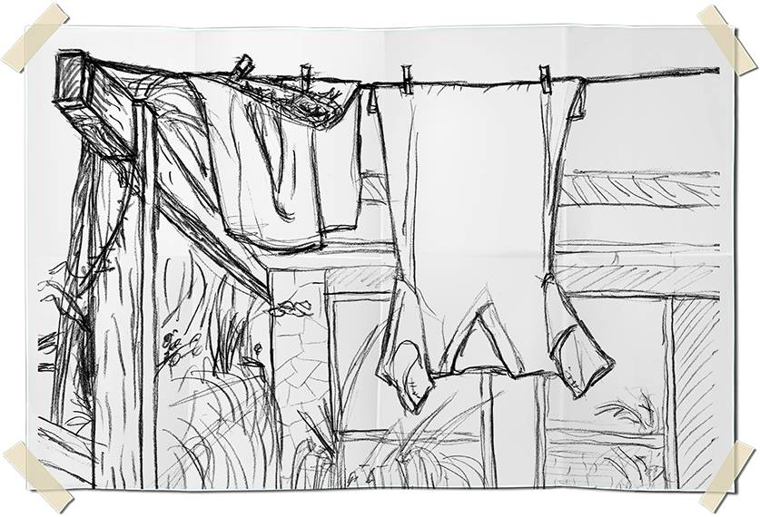 Graphite drawing - drying clothes on a terrace