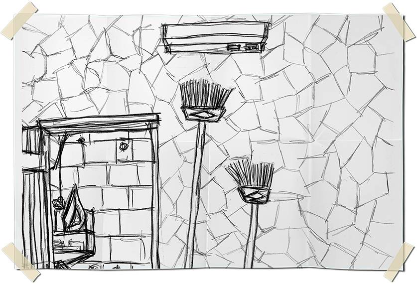 Graphite drawing - hanging brooms on a wall