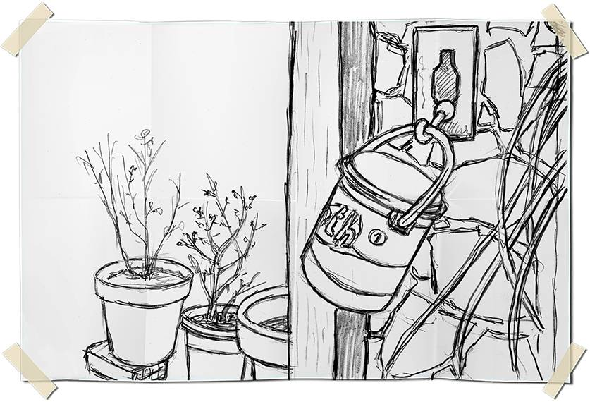 Graphite drawing - clothespins can and flowerpots