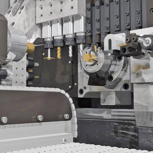 Realistic rendering of working area of automatic lathe machine