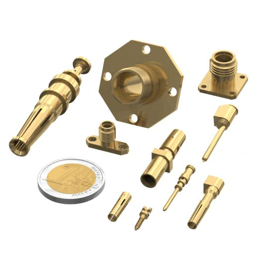 Group of mechanical parts in brass