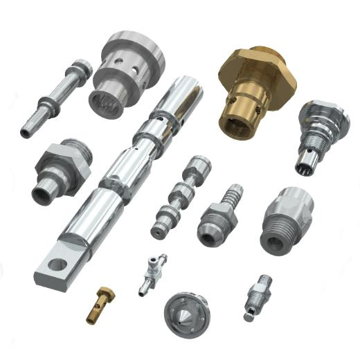 Group of mechanical parts in steel and brass