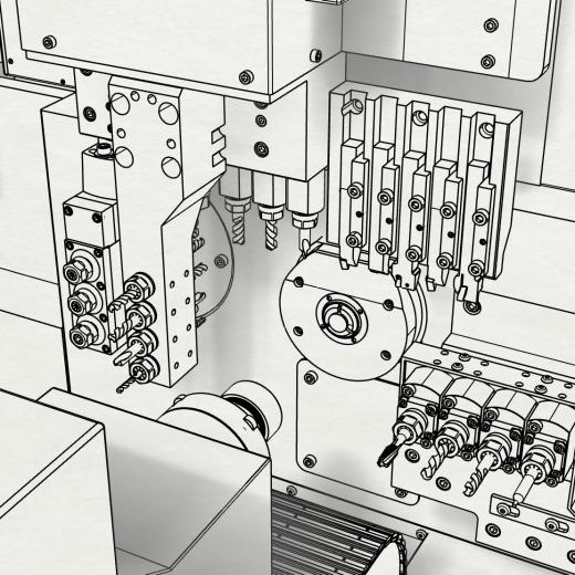 Non-realistic rendering of automatic swiss type lathe working area