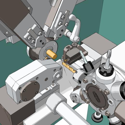 Non-realistic rendering of turret lathe working area