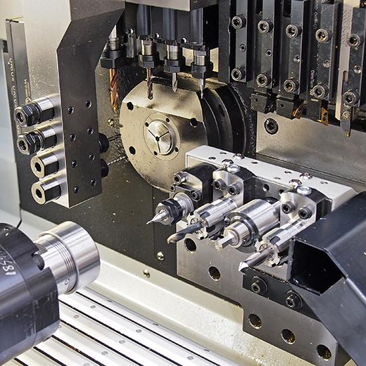 Working Area of a Hanwha Swiss Type automatic lathe