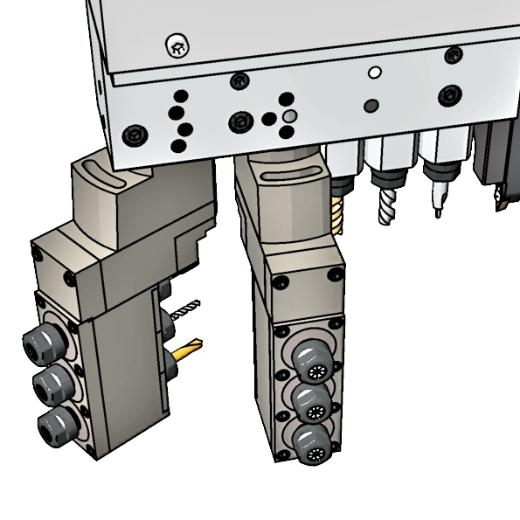 Non-realistic rendering of automatic swiss type lathe B axis drilling section